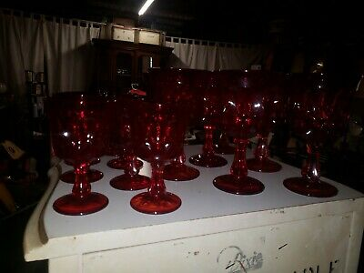 Lot of 14 Vintage Fenton Glass Ruby Red Thumbprint Stemmed  Goblets 2 Sizes