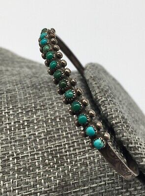Early ZUNI Silver & Natural TURQUOISE Petit Point Native American BRACELET old