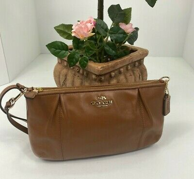 Coach Wristlet Bag Colette Smooth Saddle Brown Leather Zip Top  F52153 B14 B14