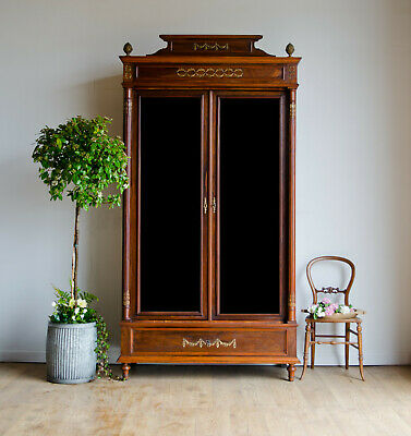 Antique French Oak & Rosewood Armoire Linen Press with Mirrored Doors & Shelves