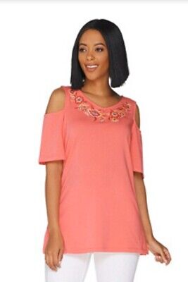 Belle By Kim Gravel TripleLuxe Knit Embroidered Top w/ Cut Outs A303492 Coral