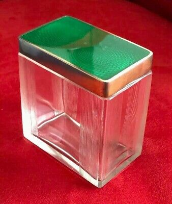 Antique Ribbed Glass Vanity Jar With Sterling Silver Guilloche Enamel Lid