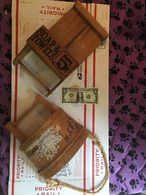Rustic Soap And Hand Towel Holder - 5 Cents+Hot Bath 10 Cents Soap Extra-Display