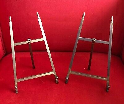 """Pair Of Vintage Solid Brass Table Top Picture Frame Art Easel Stand 8 1/4"""" Tall"""