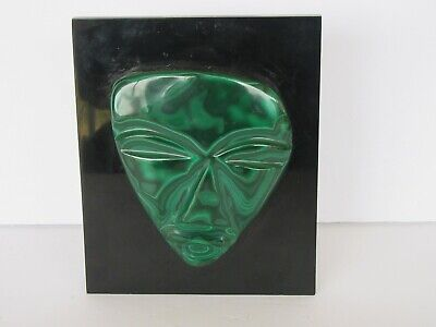 Vintage Hand Carved Russian Malachite Face / Mask