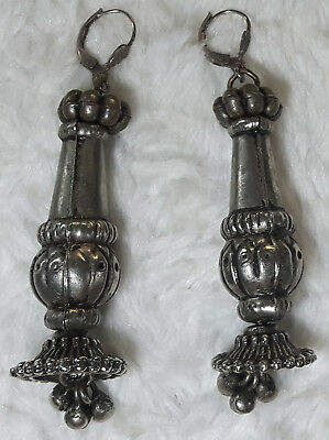 Vintage Pewter EARRINGS with Silver clasps, pair with Silver clasps