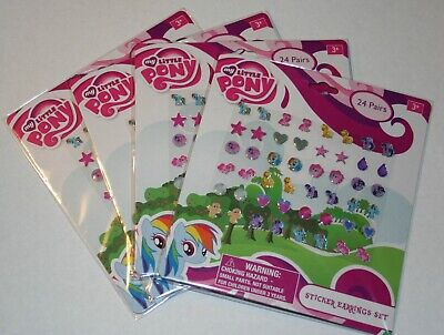 4 My Little Pony Sticker Earring Sets 96 Pair Easter Basket Party Favors Jewelry