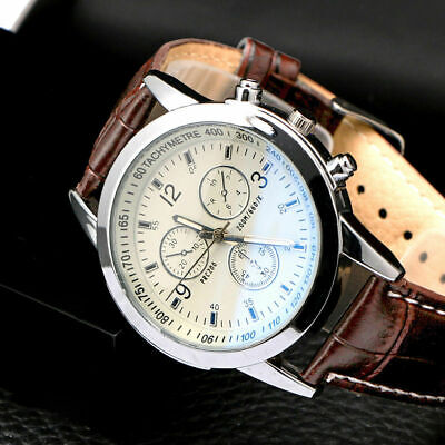 Men's Leather Military Casual Analog Quartz Wrist Watch BX Business Watches M4D5