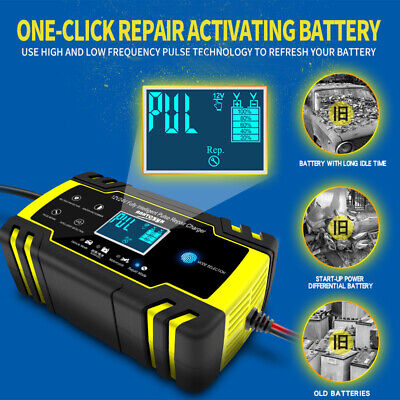 Automatic Intelligent Smart Car Battery Charger Pulse Repair Starter 12V 24V AGM