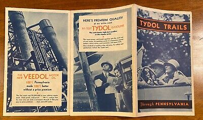 Tydol Trails 1930s PA Road Map - Gas Oil Veedol Very Nice Condition