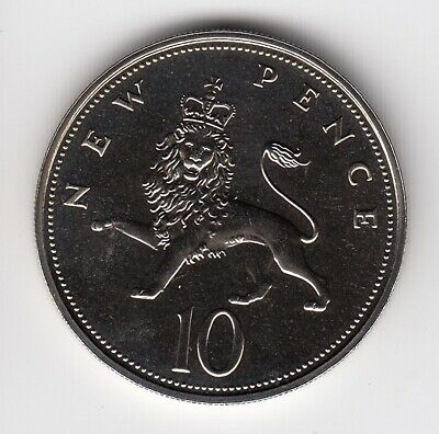 1971 TEN PENCE 10p In Uncirculated Mint Condition Extremely Nice coin   (1962)