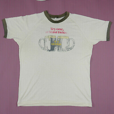 Vintage 1970s Guinness Beer Ringer T Shirt Single Stitch Paper Thin Authentic