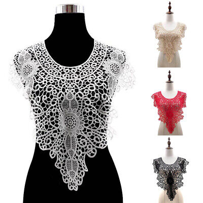 JW_ Applique Floral Embroidery Lace Trim Clothes Sewing Patch DIY Neck Collar