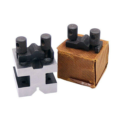 Pack of 2 V Block with Clamp Set Toolmakers Vee Block 1-3/8''x1-3/8''x1-3/16''