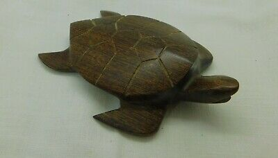 "Teak? Carved Wood Turtle  4"" Decorative Souvenir"