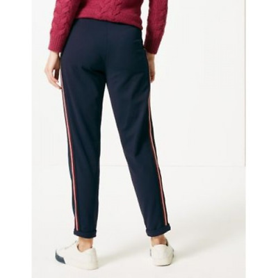 BNWT M&S Collection Navy Blue Side Stripe Casual Trousers Joggers UK 6 8