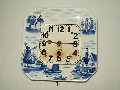 8 Day Porcelain Plate Clock / Key Wind Pendulum Movement / Made in Germany