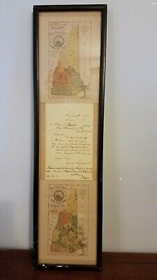 Rare Antique N.H. District Maps, 1891 Hosea B. Carter with letter Secy. of State