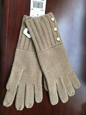 Nwt Women's Michael Kors Tan Ribbed Button Details Gloves