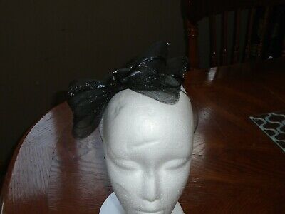 Fasinator Large Black Mesh Bow with sequin trim. New and Unused
