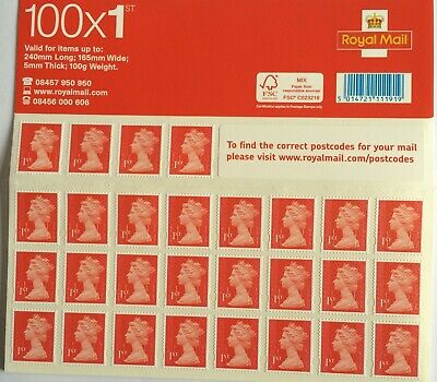First Class Royal Mail Stamps brand New 500 Stamps (100X 5 Booklet)