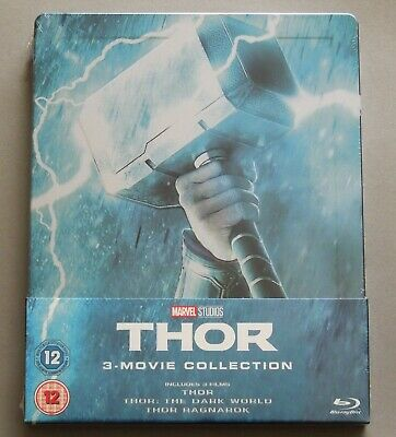 THOR 3-MOVIE COLLECTION - UK ZAVVI EXCLUSIVE 3x BLU-RAY STEELBOOK * NEW AVENGERS