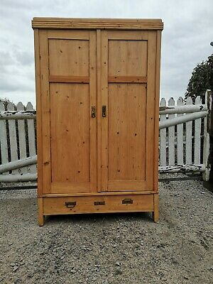 Early 20th Century Antique Pine Double Knockdown Wardrobe - Delivery & Assembly