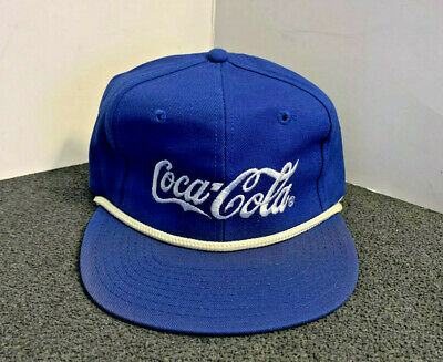 Vintage Blue Coca-Cola Embroidered Rope Snapback Hat Coke - New Old Stock