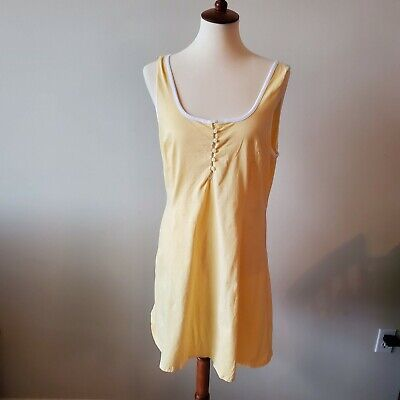 Vintage Victorias Secret Country Cotton Sleeveless Nightgown Size Large Yellow