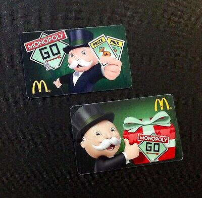 Canada  Mcdonald Monopoly Gift Card  -- Rare -- Lot Of 2 Pcs. -- New