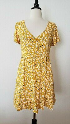 Anthropologie Dress Tunic Mustard Yellow Floral Bell Boho Mini Size Large