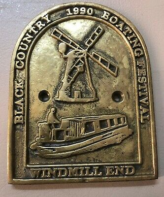 Solid Brass 1990 Black Country Boat Windmill End Plaque Maritime Boat Ship Decor