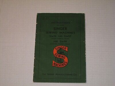 Vintage 1950 SINGER SEWING MACHINE Model No 51w56 & 51w57/59 Instructions Manual