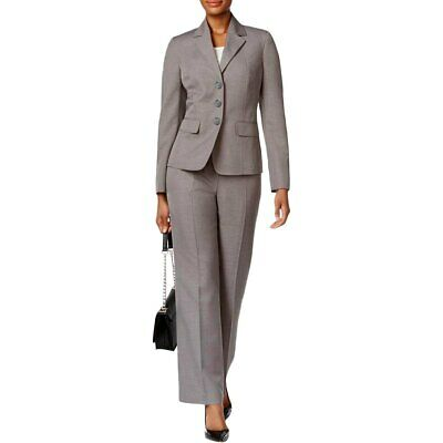 Le Suit Womens Pattern Star Collar Three Button Pant Suit Pearl Grey 14