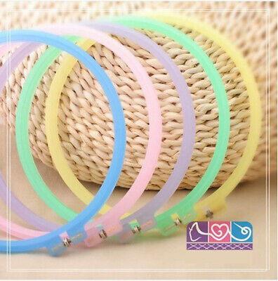 2PCS Crystal Pink 6.7 inch/22 cm Circle Plastic Embroidery Hoops-Pink only
