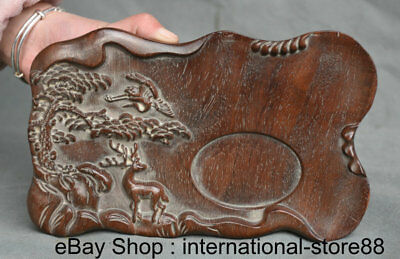 "8.8"" Old Chinese Wood Hand-carved Dynasty Palace Deer Crane Flower inkstone"