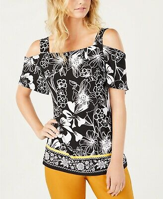INC Womens Short Sleeves Cold Shoulder Blouse black white floral print size L