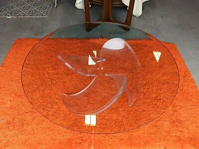 MCM Knut Hesterburg Acrylic Lucite  Propeller Coffee Table Hollywood Regency