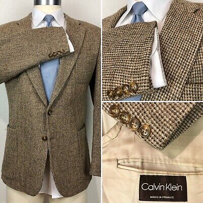 Calvin Klein Made In France Couture 100% Wool Tweed Weave Blazer Sport Coat 42R