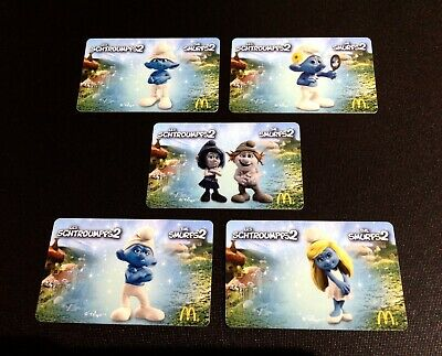 Canada  🇨🇦 Mcdonalds Smurfs Gift Card -- Lot Of 5 Pcs. -- Rare - New