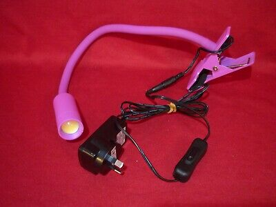 Flexible Led Reading Light With Clamp & Power Supply Suit Desk Bed Table Vgc