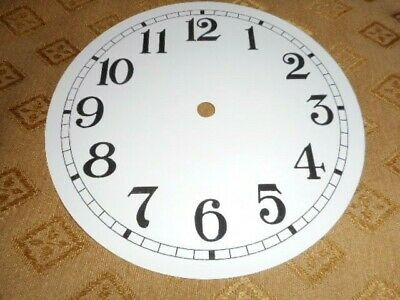 """Round Paper (Card) Clock Dial - 5 3/4"""" M/T - Arabic - GLOSS WHITE -Parts/Spares"""