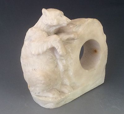 Italian Alabaster Clock Case Carved With  Bear  Circa 1900