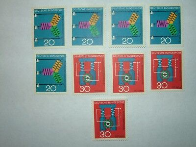 1966 WEST GERMANY SCIENTIFIC ANNIVERSARIES STAMPS X 9 MNH/MH (sg1426/7) CV £4