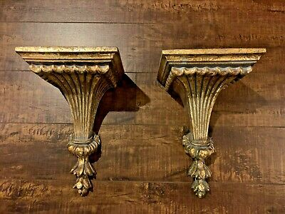 A Pair Of  gorgeous Sculpt Architectural Wall Corbel  Sconces / Shelves