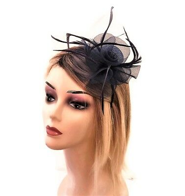 Navy Blue Rosette Fascinator on a Flexible Headband with Feathers