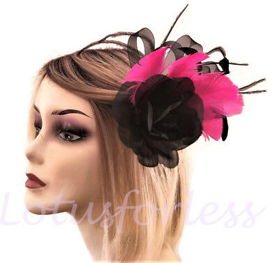 Rose Flower Fascinator on a Hair Clip Brooch Beautiful Black and Fuchsia Pink