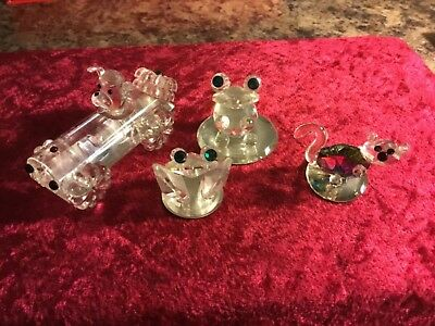 4 Pieces Of Hadrian Crystal Dog In A Car, Frog, Crab, And Cat Excellent Cond.