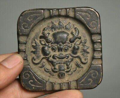 6.5CM Old Ancient China Chinese Bronze Dynasty Palace Dragon Beast Head Token