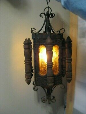 Large Antique Wrought Iron - Bubbled Amber Glass & Wood Hanging Foyer Lamp